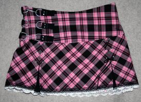 Pink and black plaid skirt by BriteWingz