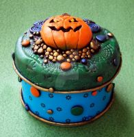 Jack-o-lantern Trinket Box Tin by MandarinMoon