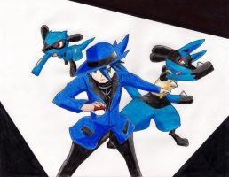 Aaron, Lucario and riolu by jackas16