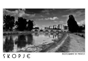 SKOPJE POSTCARD B-W by mitatos