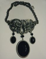 Classic black stone necklace by Pinkabsinthe
