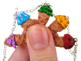Rainbow Ice Cream Charm Bracelet by ClayMyDay