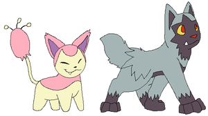 Skitty and Poochyena by Miiroku