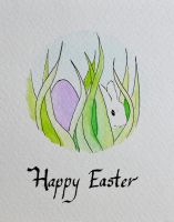 Easter Card: Egg and Bunny in the Grass by Modelbob7