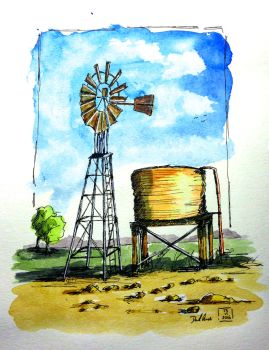 WindMill And Water Tank by DavesWatercolour