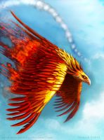 Phoenix card illustration for LevynLight game by Colin-Ashcroft