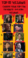 Top 10 Live Action Villians by GreedLin
