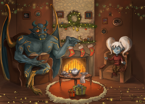 Poppy and galio, happy xmas by Celopius