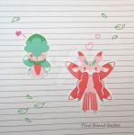 Chibi Fomantis/Lurantis Stickers and Magnets by pixelboundstudios