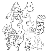 Fakemon Sketches by hopelessparadox