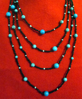 Black - Turquoise Necklaces by BloodRed-Orchid