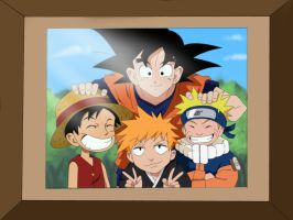 Naruto, Goku , Luffy and  Ichigo Coloring by Nohealsfoyou