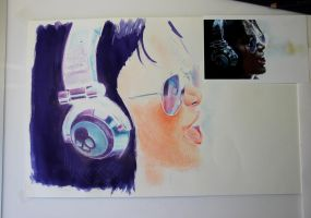 Skullcandy Girl - coloured pencil WIP by Joshua-Mozes