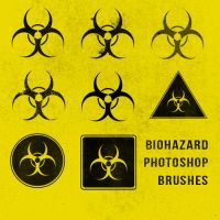 Grunge Biohazard Photoshop Brushes by sdwhaven
