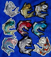 Koi fish embroidered patches by goiku