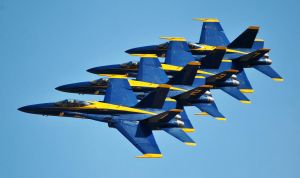 Blue Angels F/A-18 Echelon Formation by fosspathei