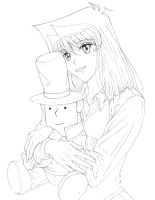 Gift: Anzu with Layton plush for SamCyberCat WIP by Yamigirl21