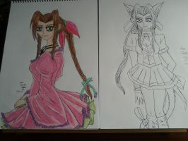 Aerith Superhero normal girl and neko (wip) by Laineyfantasy