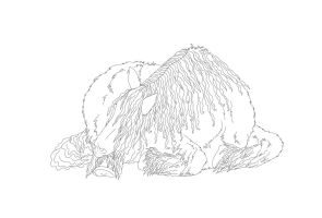 sleeping shire horse lineart by RainbowFountains