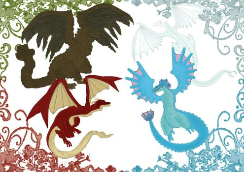 Elemental dragons by BabaOmmelo