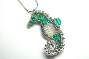 Wire Wrapped Seahorse Pendant With Sea Glass by LoneWolfjewelry
