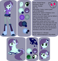Rocket Raven Ref Sheet by demonreapergirl