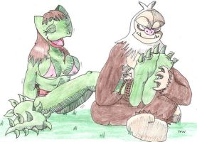 Reptile and Sloth-Monkey by zp92