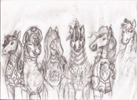 realistic mane 6 in armor coming home after battle by Pwnyville