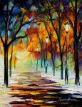 Winter alley oil painting on canvas by L.Afremov by Leonidafremov