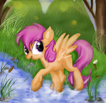 scootaloo in the forest (grown up) by XxsilvixX