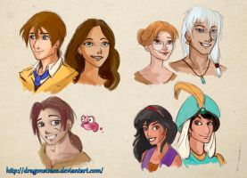 Sketching some Disney genderbender characters by DragonsTrace