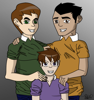 Ben, Rex, and Andy Family Portrait by superskeetospro
