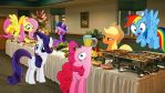 Mane 6 At A Buffet by Macgrubor