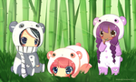 Panda Family by le-pink-piglet