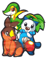 Snivy Tepig Oshawott by mr-tiaa