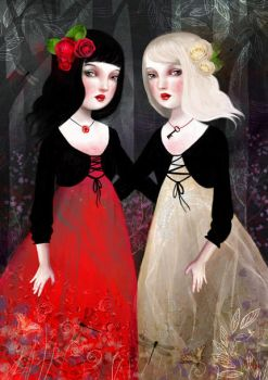 Snow White and Rose Red by meluseena