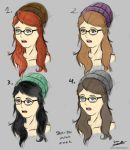 Girl with Glasses_Colour Hair rough layout by EricButerman
