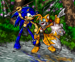 Sonic and Tails Tribal by Lord-Kiyo