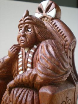 Close up of Carved Chess King by NCEART