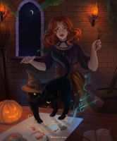 A Cat And It's Witch by HelenKei