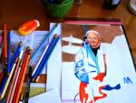 WIP Knopfler portrait COLOURED PENCILS by ZuzanaGyarfasova