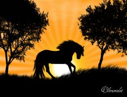 Sunset horse by ultraviolet1981