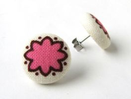 Pink stud earrings button summer bright happy by KooKooCraft