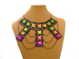 Rhinestone, Glitter and Chain Statement Necklace by Natalie526