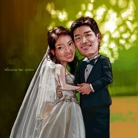 S and J Wedding Cartoon by nictey