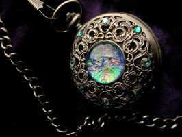 Antique Silver - Blue Rainbow Pocket Watch by LadyPirotessa