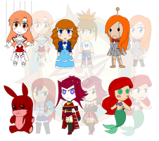 Assorted Chibis - AU Doll Collection 2 by Dragon-FangX