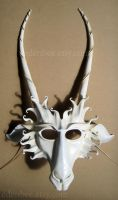 Leather goat mask in white and ivory by shmeeden