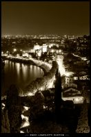 Verona Adige river lights by Brompled