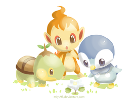 Turtwig, Chimchar and Piplup(2) by miyu96